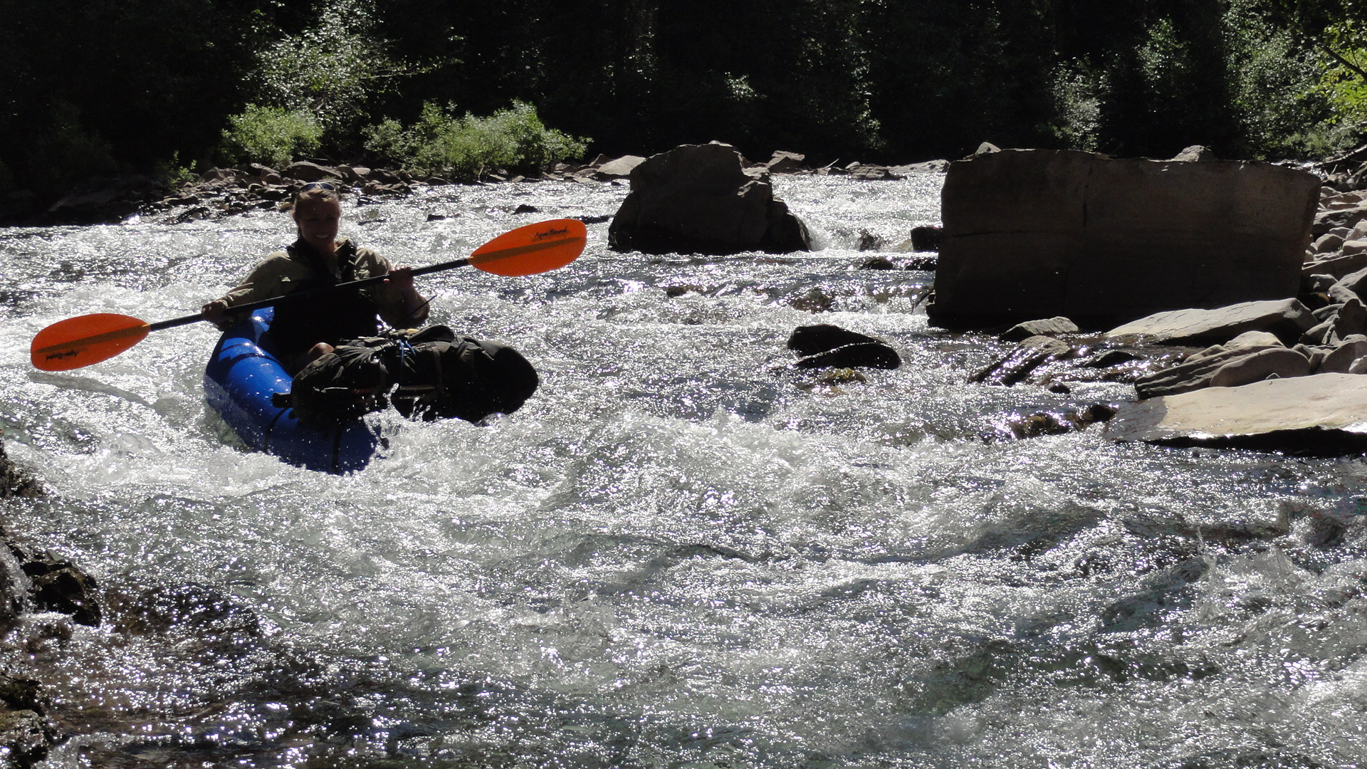 Packrafting in whitewater